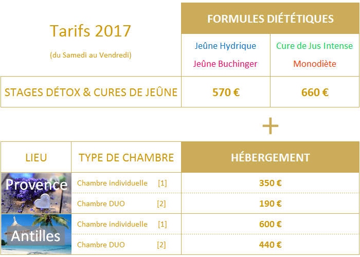 Tarifs PURE DETOX 2017